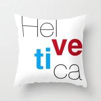 helvetica Throw Pillows featuring Helvetica by Ana Guillén Fernández