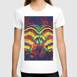 1349s-MAK Abstract Pop Color Erotica Explicit Psychedelic Yoni Buns T-shirt