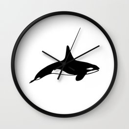 Killer whale in black and white Wall Clock