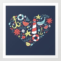 nautical Art Prints featuring Nautical by lindsey salles