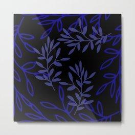 Leafy Blue Metal Print