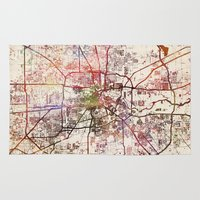 houston Area & Throw Rugs featuring Houston by MapMapMaps.Watercolors