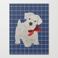 westie Canvas Prints featuring Westie by Carrie McFerron
