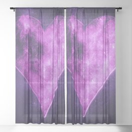 Heart symbol. Playing card. Abstract night sky background Sheer Curtain