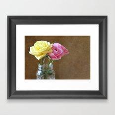 Jar of Roses Framed Art Print
