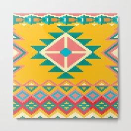 Yellow Native Aztec Metal Print