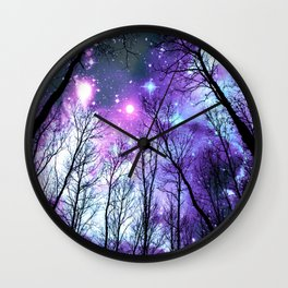 Black Trees Lavender Pink Blue Space Wall Clock