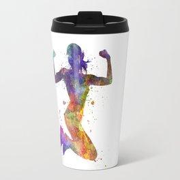 Woman runner jogger jumping powerful Travel Mug