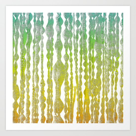 psychedelic stripes - green Art Print