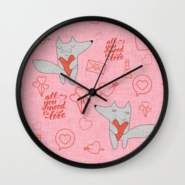 Fox in love pink Hearts Wall Clock