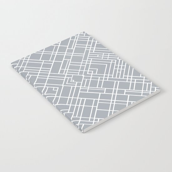 Map Outline 45 Grey Repeat Notebook