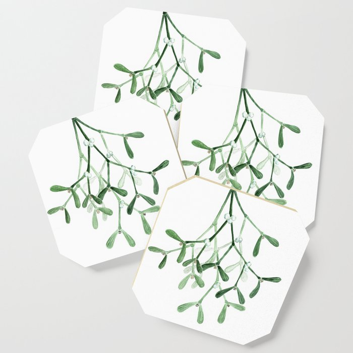 Watercolor mistletoe illustration Coaster