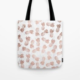 Modern faux rose gold pineapples white marble pattern Tote Bag