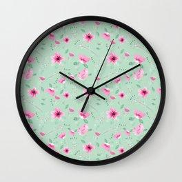 Fushia and Jade Floral Wall Clock