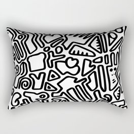 black & white doodle Rectangular Pillow