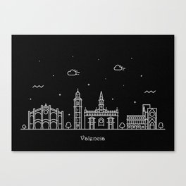 Valencia Minimal Nightscape / Skyline Drawing Canvas Print
