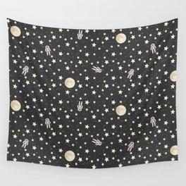 Space - Stars Moon and Astronauts on black Wall Tapestry