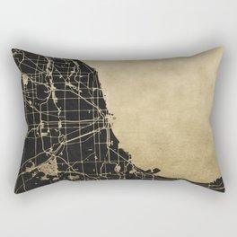 Chicago Black and Gold Street Map Rectangular Pillow