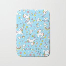 Unicorn Light Blue Pattern Bath Mat