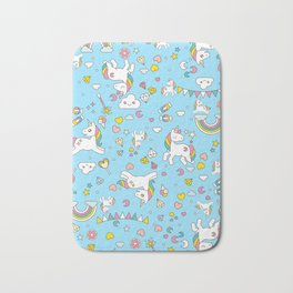 Unicorn Light Blue Pattern Bath Mat