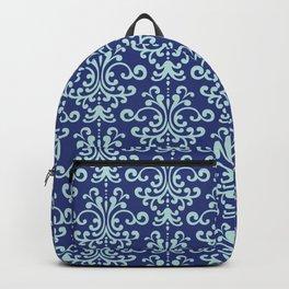 Custom Retro Blue Floral Pattern Backpack