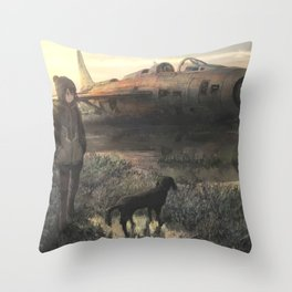 Airplane and girl Original Artwork Throw Pillow