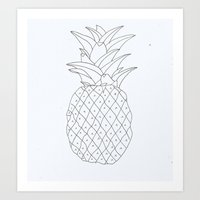 pinapple Art Prints featuring pinapple by Ayşe Sezaver