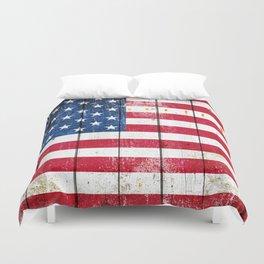 Distressed American Flag On Wood Planks - Horizontal Duvet Cover