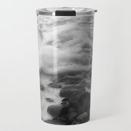 White Waves on Black Rocks Photographic Print Travel Mug