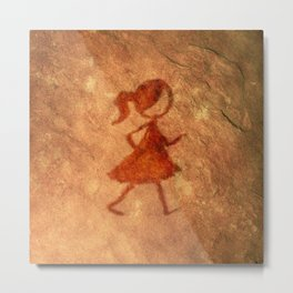 Flipt Pictures Girl Cave Painting Metal Print