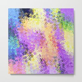 flower pattern abstract background in purple yellow blue green Metal Print