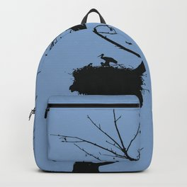 Silhouette Of Stalk Nest and Fledglings Vector Backpack