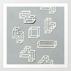 Tetris Papercut Art Print