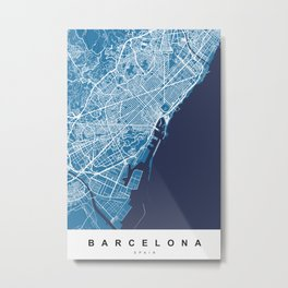 Barcelona Map | Spain | Blue & Blue Colors Metal Print