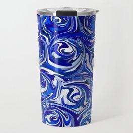 China Blue Paint Swirls Travel Mug