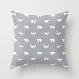 Cat silhouette cat lady cat lover grey and white minimal modern pet silhouette pattern Throw Pillow