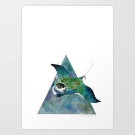 Manta Ray Loves The Earth Too Art Print