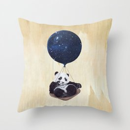 Panda in space Throw Pillow