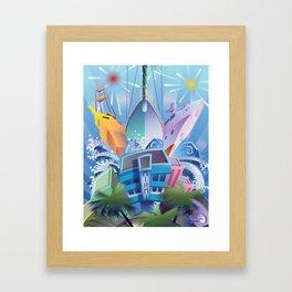 YACHTS OVER MIAMI BEACH Framed Art Print