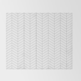 Herringbone - Black + White Throw Blanket