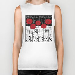 Applique Poppies on black and white background . Biker Tank