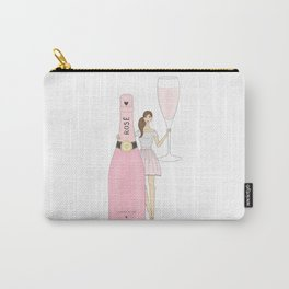 Rose Champagne Fashion Girl Brown Hair Carry-All Pouch