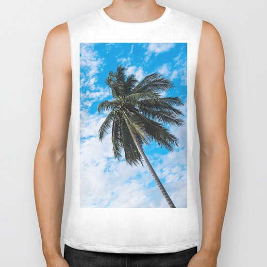 Palm Tree under Blue and White Biker Tank