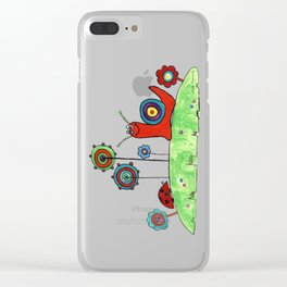 Summer Joy - Abstract Snail and Flowers Clear iPhone Case