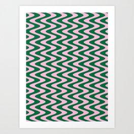 Cotton Candy Pink and Cadmium Green Vertical Waves Art Print