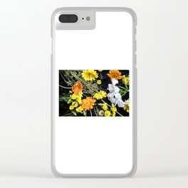 Fresh blooms on black Clear iPhone Case