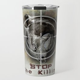 Black Rhino Stop The Killing Illustration Travel Mug