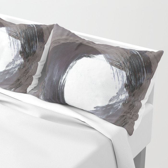 Circular Gestural Brushstroke Grey Abstract Painting Pillow Sham