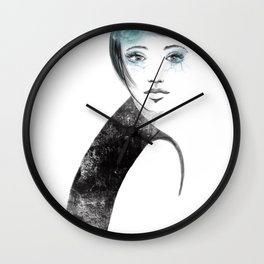 Fashion girl portrait with blue flower Wall Clock