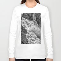 geology Long Sleeve T-shirts featuring Black and White Beautiful Waterfall by Wendy Townrow